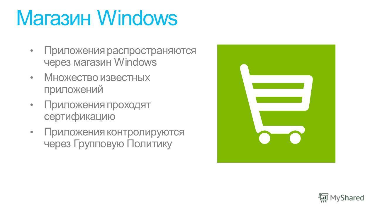 Магазин Windows Приложения распространяются через магазин Windows Множество известных приложений Приложения проходят сертификацию Приложения контролируются через Групповую Политику