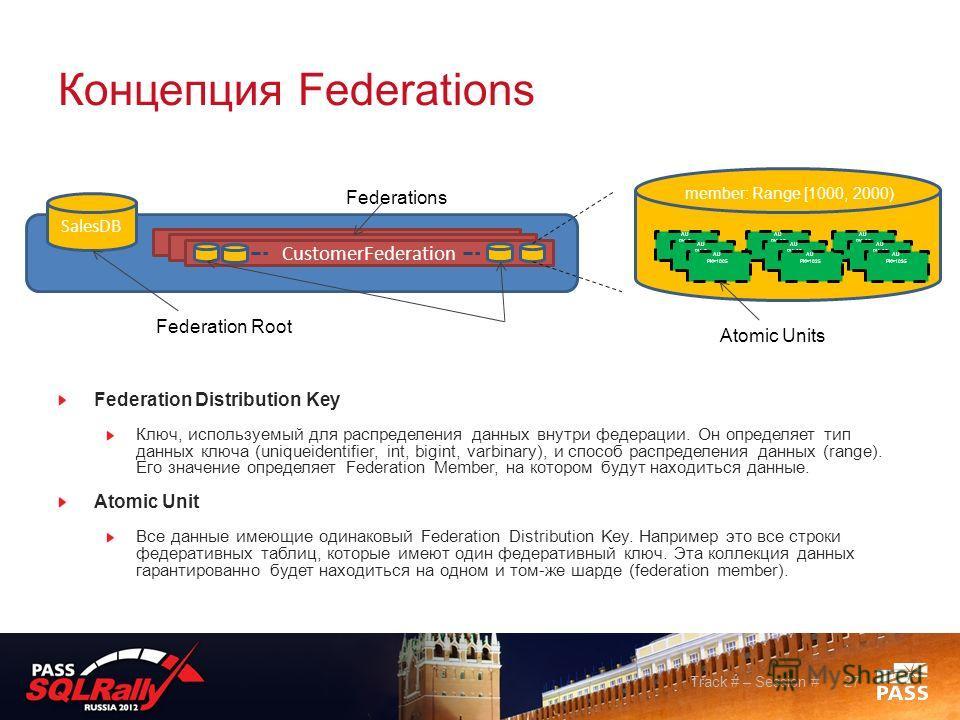 Концепция Fеderations Federation Distribution Key Ключ, используемый для распределения данных внутри федерации. Он определяет тип данных ключа (uniqueidentifier, int, bigint, varbinary), и способ распределения данных (range). Его значение определяет