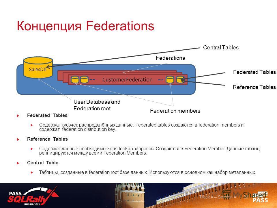 Концепция Fеderations Federated Tables Содержат кусочек распределённых данные. Federated tables создаются в federation members и содержат federation distribution key. Reference Tables Содержат данные необходимые для lookup запросов. Создаются в Feder