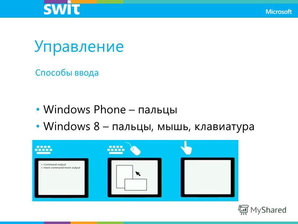 Способы ввода Windows Phone – пальцы Windows 8 – пальцы, мышь, клавиатура