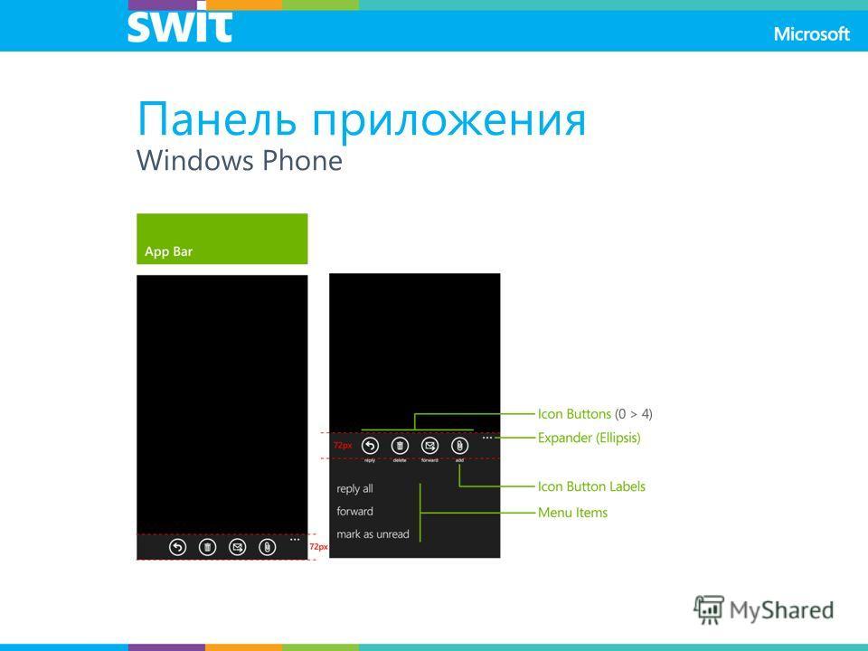 Панель приложения Windows Phone
