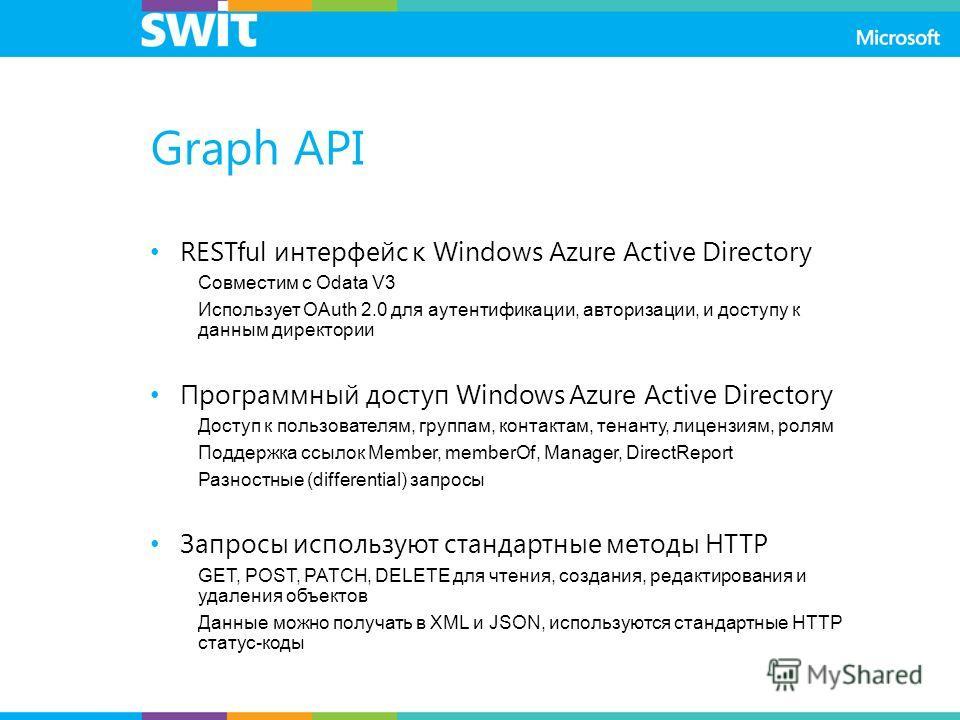 Graph API RESTful интерфейс к Windows Azure Active Directory Совместим с Odata V3 Использует OAuth 2.0 для аутентификации, авторизации, и доступу к данным директории Программный доступ Windows Azure Active Directory Доступ к пользователям, группам, к