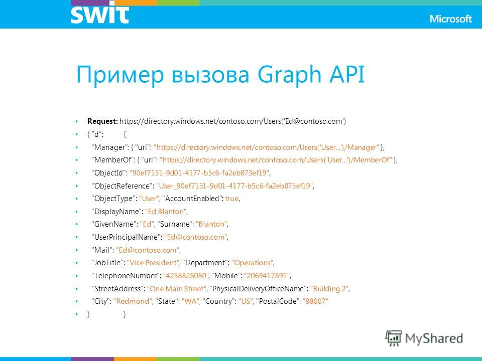 Пример вызова Graph API Request: https://directory.windows.net/contoso.com/Users('Ed@contoso.com') { d:{