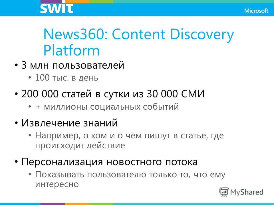 News360: Content Discovery Platform 3 млн пользователей 100 тыс. в день 200 000 статей в сутки из 30 000 СМИ + миллионы социальных событий Извлечение знаний Например, о ком и о чем пишут в статье, где происходит действие Персонализация новостного пот