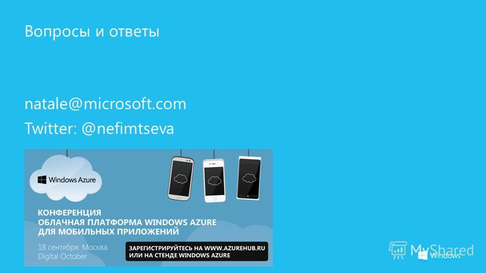 Вопросы и ответы natale@microsoft.com Twitter: @nefimtseva