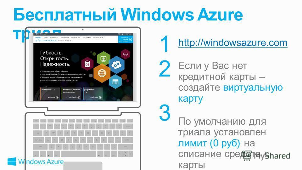 1 2 3 http://windowsazure.com Если у Вас нет кредитной карты – создайте виртуальную карту По умолчанию для триала установлен лимит (0 руб) на списание средств с карты