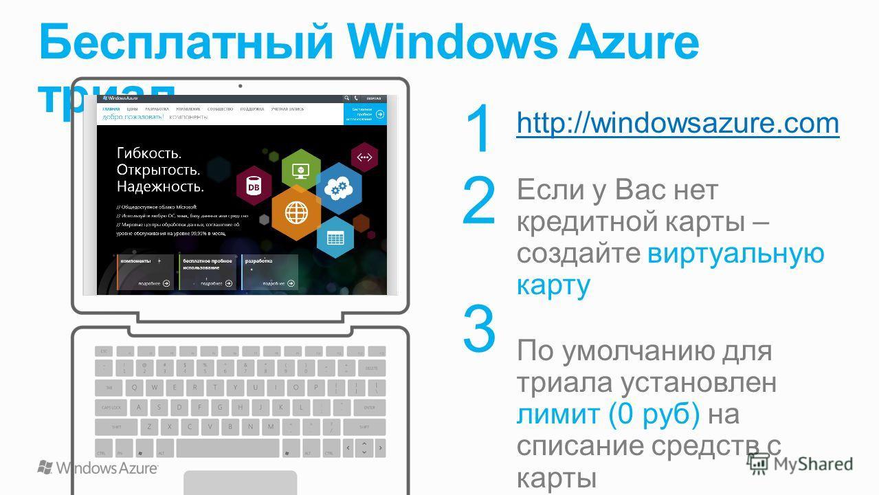 Бесплатный Windows Azure триал 1 2 3 http://windowsazure.com Если у Вас нет кредитной карты – создайте виртуальную карту По умолчанию для триала установлен лимит (0 руб) на списание средств с карты