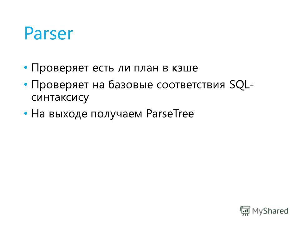 Parser Проверяет есть ли план в кэше Проверяет на базовые соответствия SQL- синтаксису На выходе получаем ParseTree