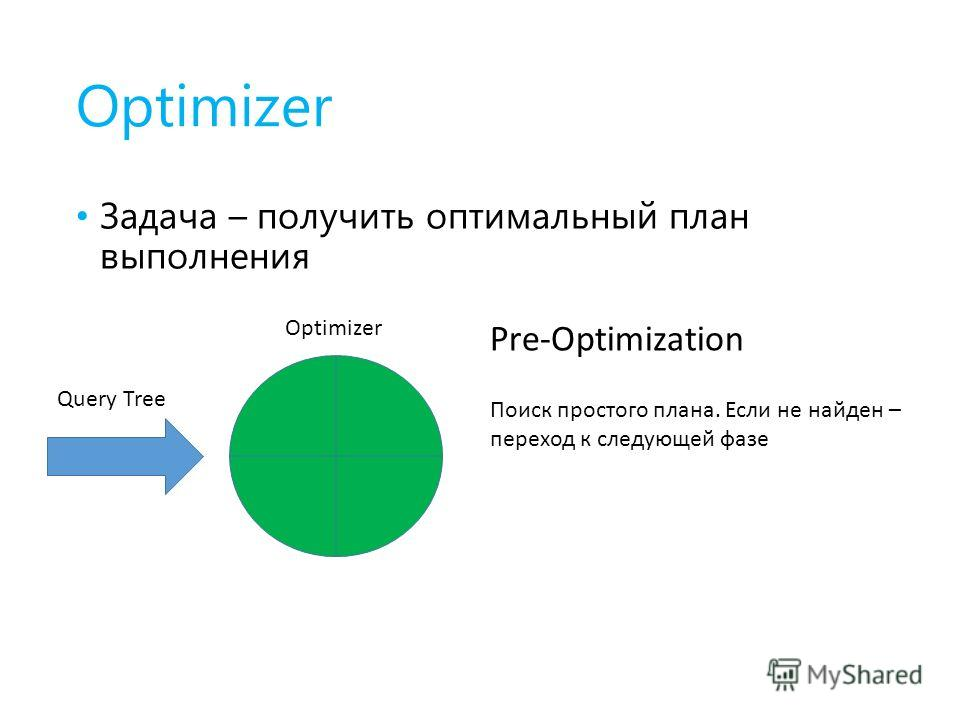 Optimizer Задача – получить оптимальный план выполнения Optimizer Query Tree Pre-Optimization Поиск простого плана. Если не найден – переход к следующей фазе