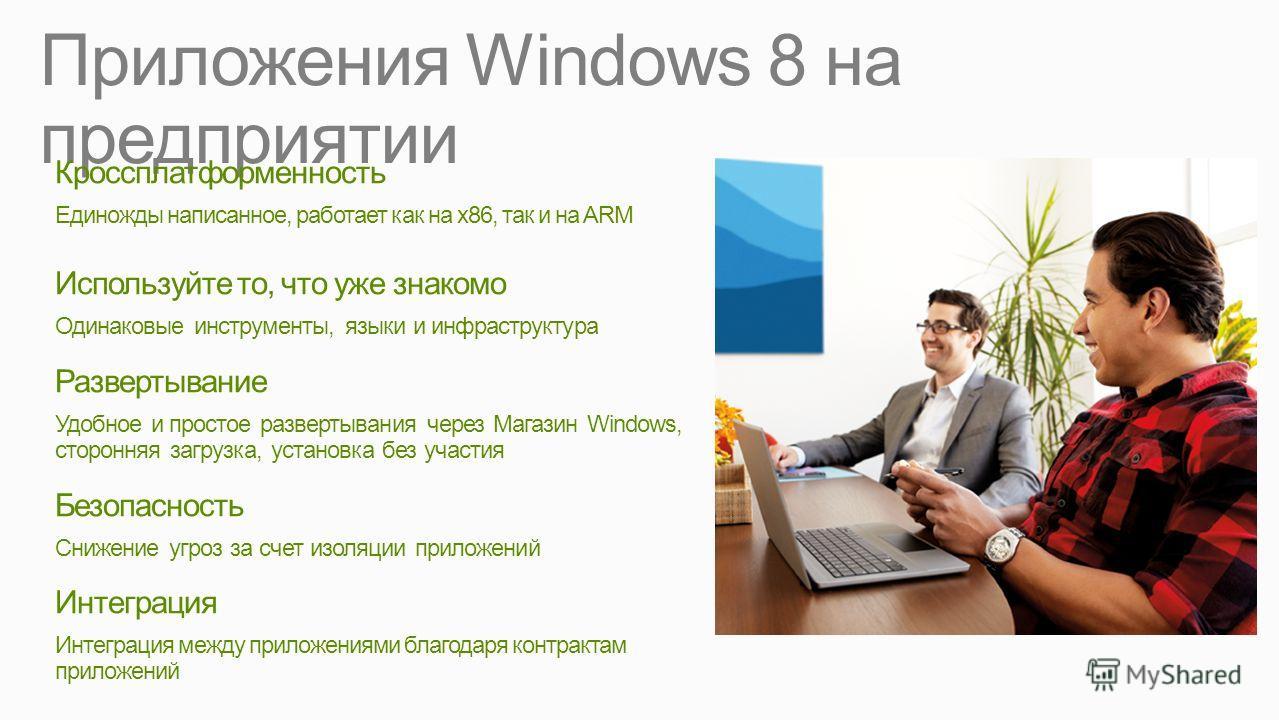 Приложения Windows 8 на предприятии Кроссплатформенность Единожды написанное, работает как на x86, так и на ARM Используйте то, что уже знакомо Одинаковые инструменты, языки и инфраструктура Развертывание Удобное и простое развертывания через Магазин