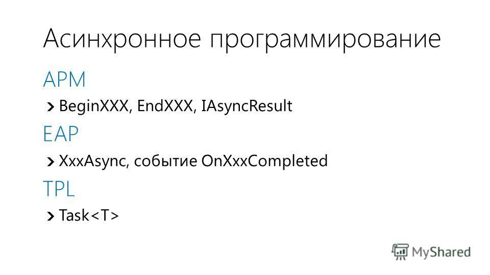 Асинхронное программирование APM BeginXXX, EndXXX, IAsyncResult EAP XxxAsync, событие OnXxxCompleted TPL Task