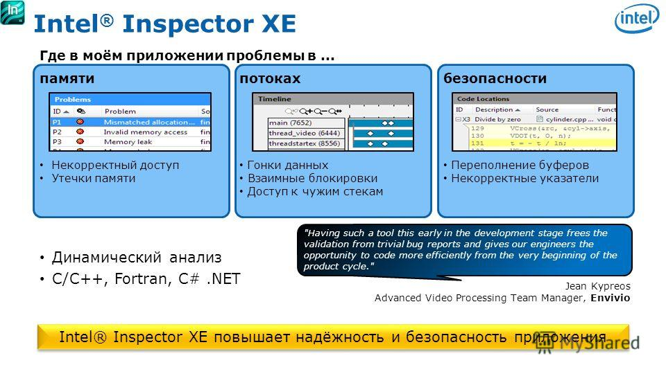 Software & Services Group, Developer Products Division Copyright© 2010, Intel Corporation. All rights reserved. *Other brands and names are the property of their respective owners. Intel ® Inspector XE Где в моём приложении проблемы в... памятипотока