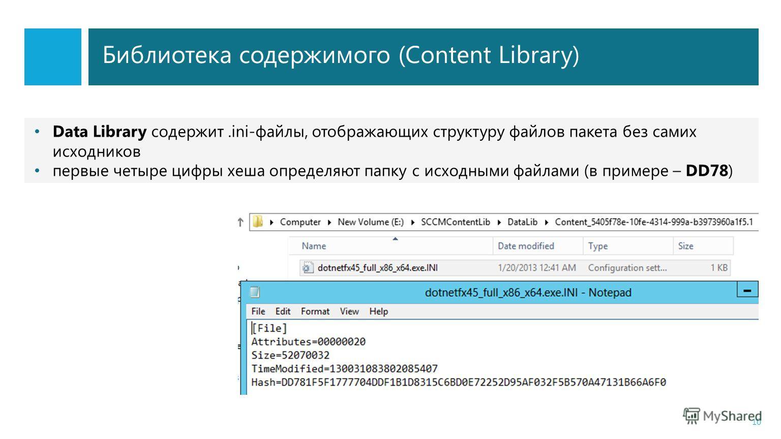 Библиотека содержимого (Content Library) 10 Data Library содержит.ini-файлы, отображающих структуру файлов пакета без самих исходников первые четыре цифры хеша определяют папку с исходными файлами (в примере – DD78)