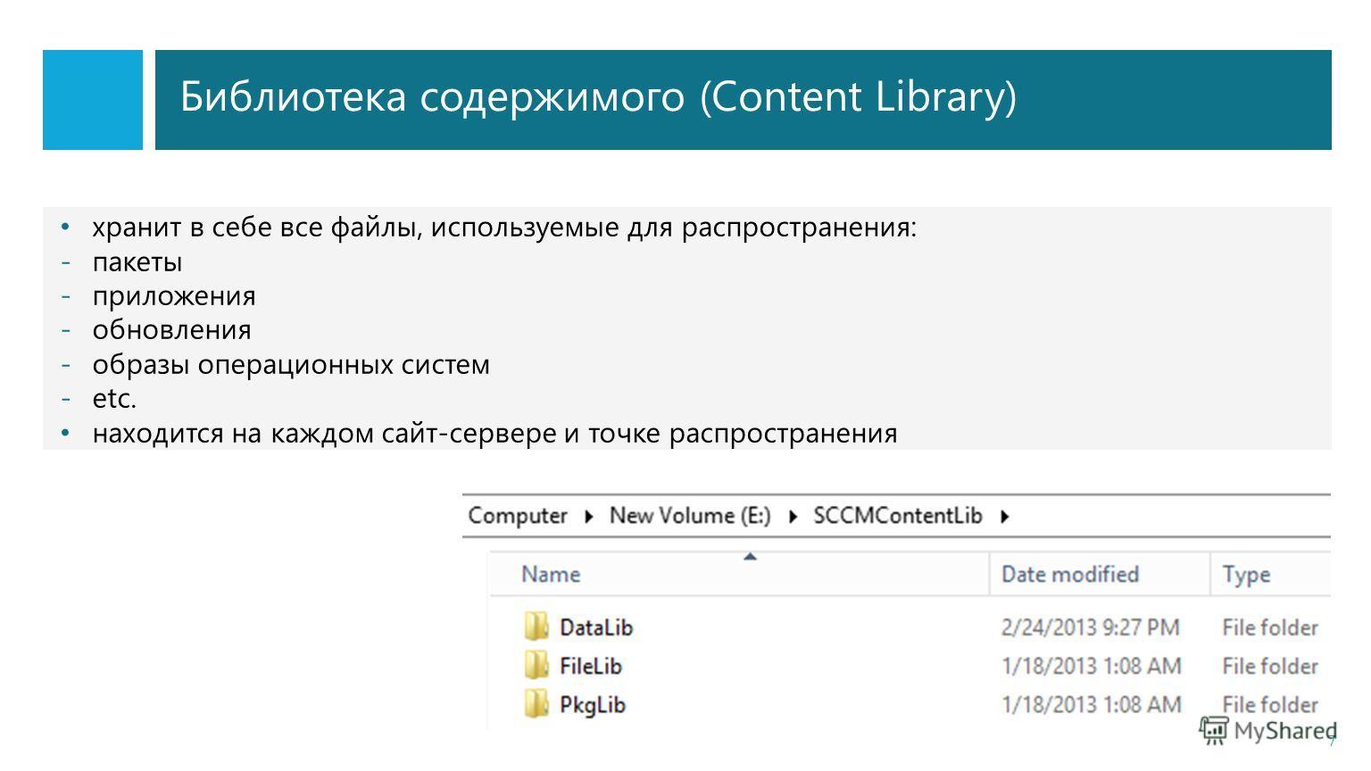Библиотека содержимого (Content Library) 7 хранит в себе все файлы, используемые для распространения: -пакеты -приложения -обновления -образы операционных систем -etc. находится на каждом сайт-сервере и точке распространения