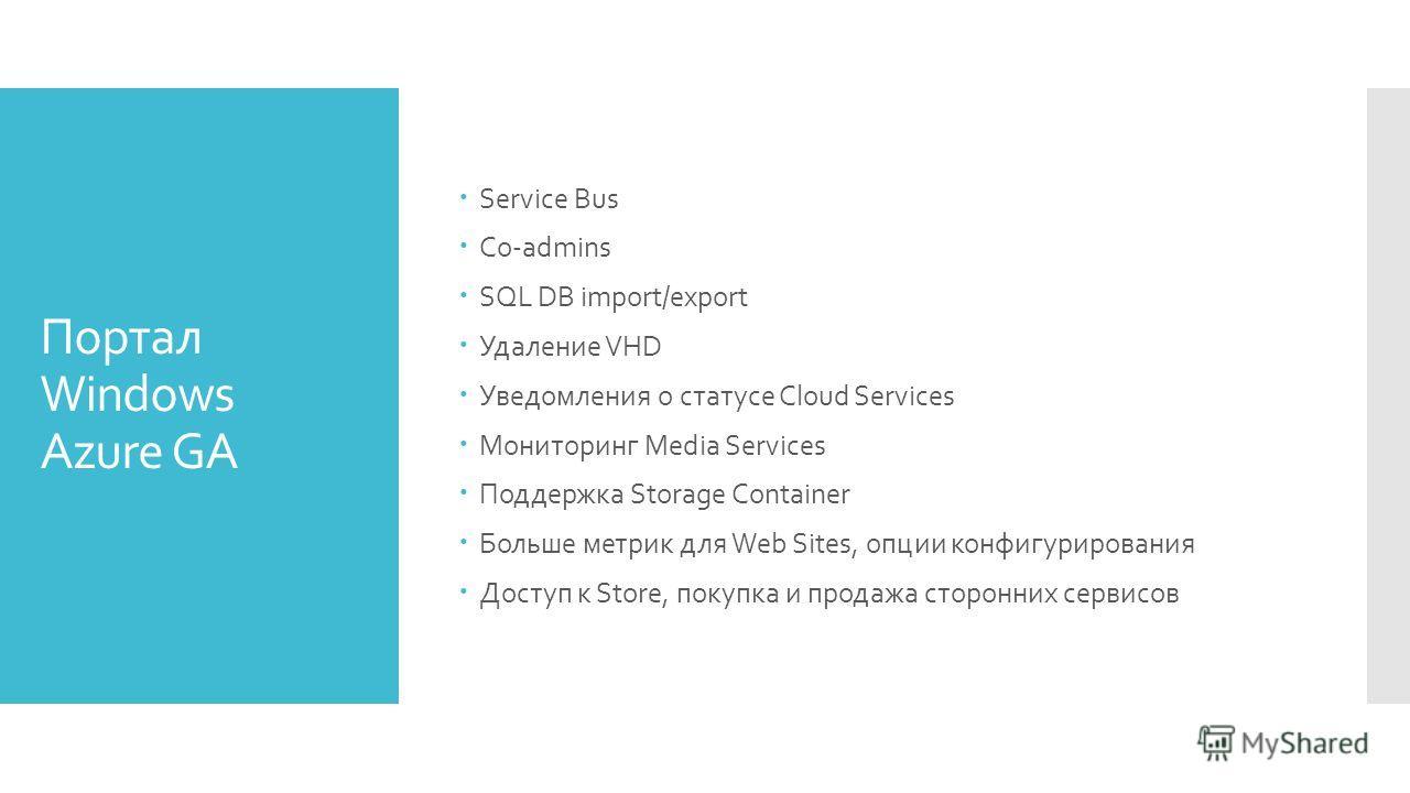 Портал Windows Azure GA Service Bus Co-admins SQL DB import/export Удаление VHD Уведомления о статусе Cloud Services Мониторинг Media Services Поддержка Storage Container Больше метрик для Web Sites, опции конфигурирования Доступ к Store, покупка и п