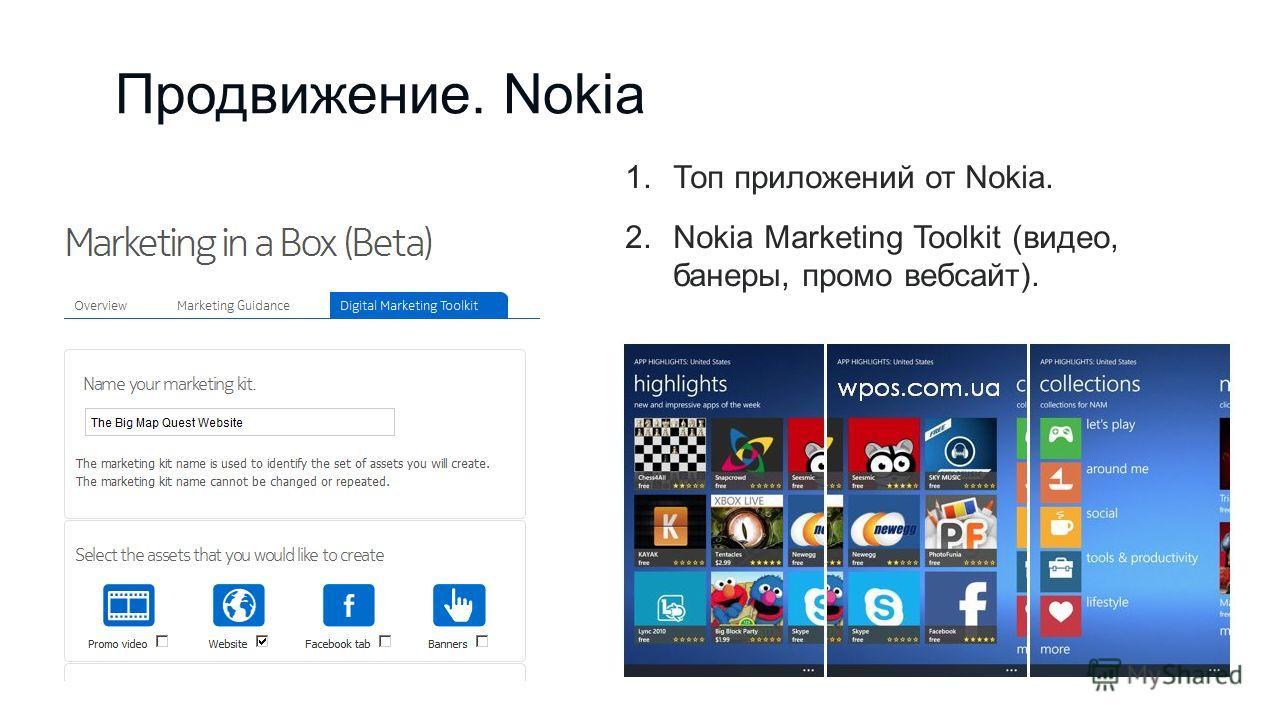 Продвижение. Nokia 1.Топ приложений от Nokia. 2.Nokia Marketing Toolkit (видео, банеры, промо вебсайт).