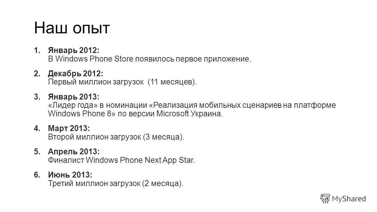 Наш опыт 1.Январь 2012: В Windows Phone Store появилось первое приложение. 2.Декабрь 2012: Первый миллион загрузок (11 месяцев). 3.Январь 2013: «Лидер года» в номинации «Реализация мобильных сценариев на платформе Windows Phone 8» по версии Microsoft