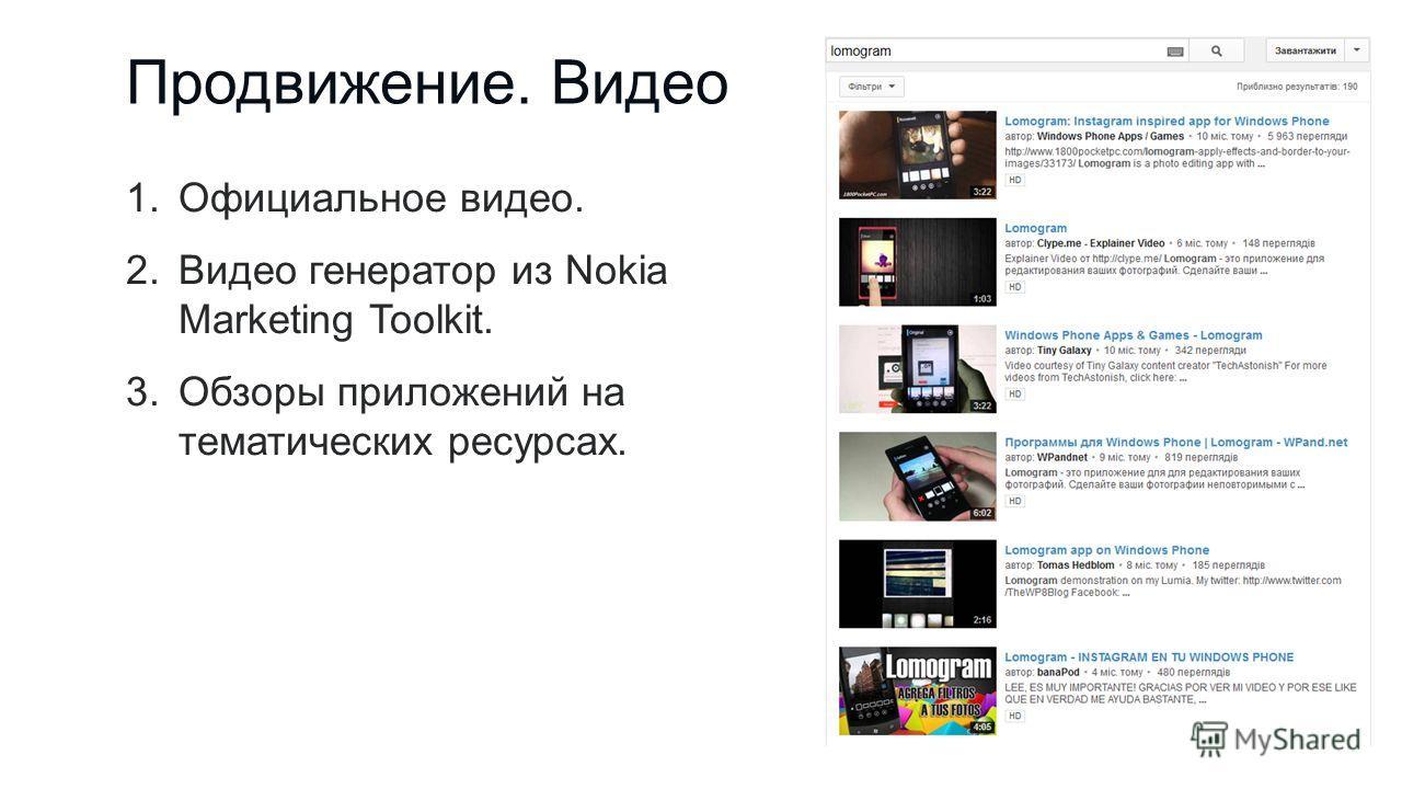 Продвижение. Видео 1.Официальное видео. 2.Видео генератор из Nokia Marketing Toolkit. 3.Обзоры приложений на тематических ресурсах.