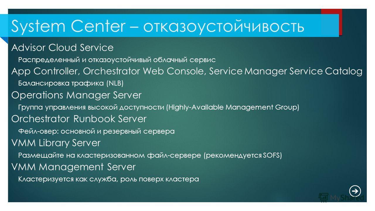 System Center – отказоустойчивость Advisor Cloud Service Распределенный и отказоустойчивый облачный сервис App Controller, Orchestrator Web Console, Service Manager Service Catalog Балансировка трафика (NLB) Operations Manager Server Группа управлени