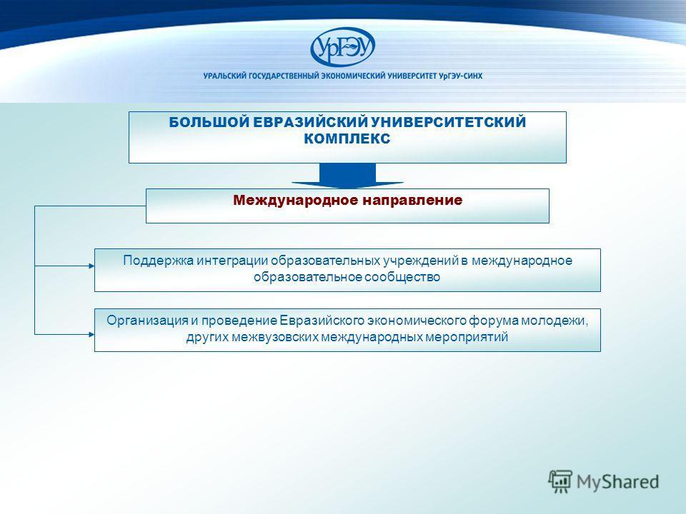 Международное направление Поддержка интеграции образовательных учреждений в международное образовательное сообщество Организация и проведение Евразийского экономического форума молодежи, других межвузовских международных мероприятий БОЛЬШОЙ ЕВРАЗИЙСК