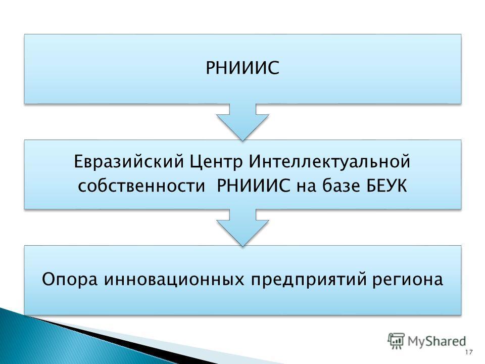 Опора инновационных предприятий региона Евразийский Центр Интеллектуальной собственности РНИИИС на базе БЕУК РНИИИС 17