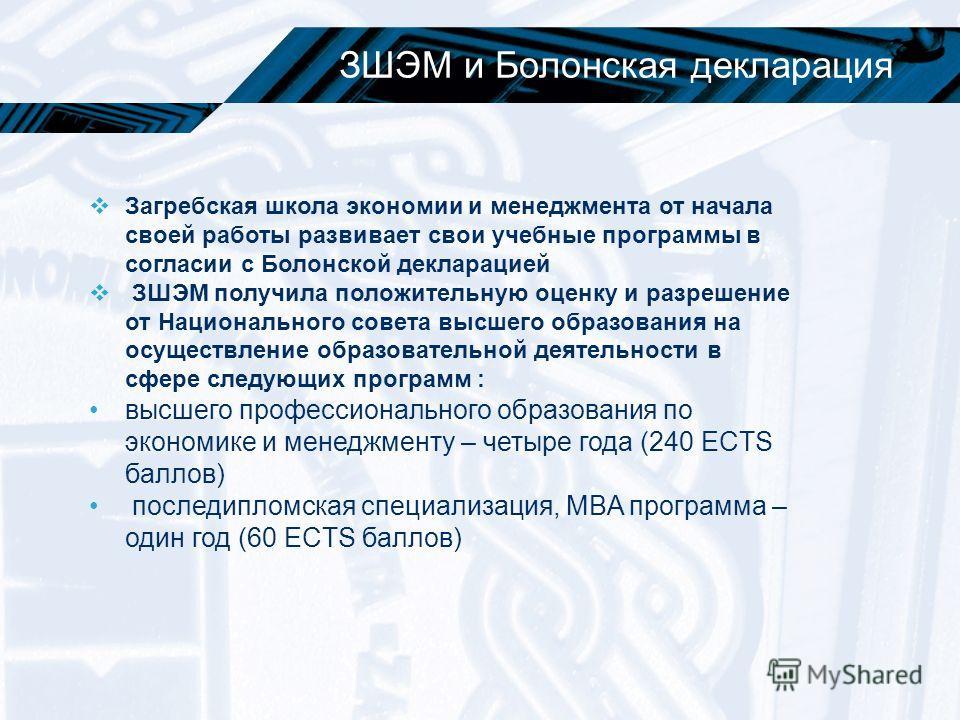 ЗШЭМ и Болонская декларация Загребская школа экономии и менеджмента от начала своей работы развивает свои учебные программы в согласии с Болонской декларацией ЗШЭМ получила положительную оценку и разрешение от Национального совета высшего образования