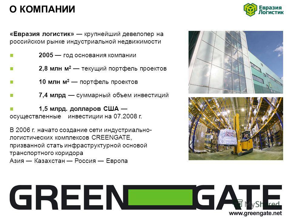 О КОМПАНИИ «Евразия логистик» крупнейший девелопер на российском рынке индустриальной недвижимости 2005 год основания компании 2,8 млн м 2 текущий портфель проектов 10 млн м 2 портфель проектов 7,4 млрд суммарный объем инвестиций 1,5 млрд. долларов С