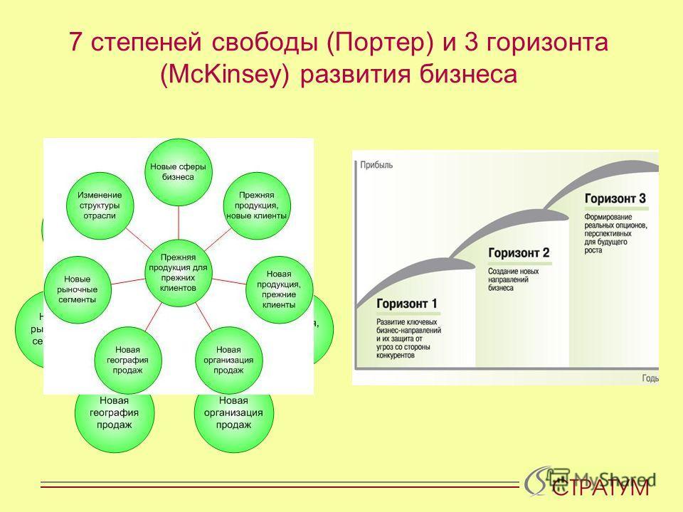 7 степеней свободы (Портер) и 3 горизонта (McKinsey) развития бизнеса