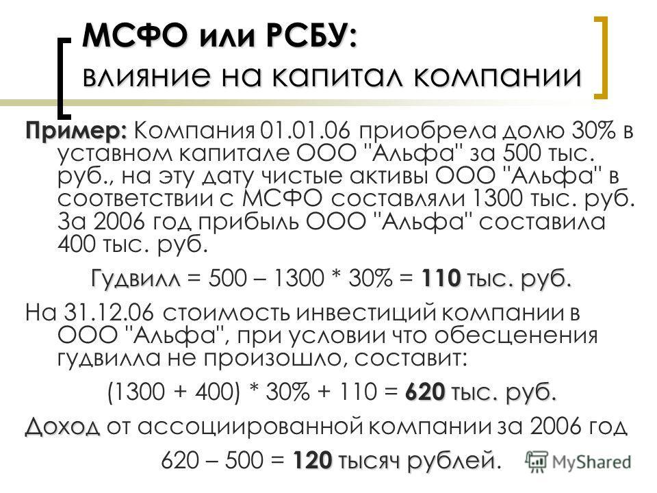 МСФО или РСБУ: влияние на капитал компании Пример: Пример: Компания 01.01.06 приобрела долю 30% в уставном капитале ООО