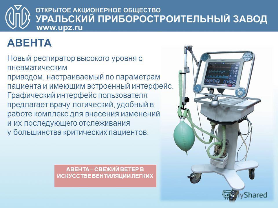 АВЕНТА – СВЕЖИЙ ВЕТЕР В ИСКУССТВЕ ВЕНТИЛЯЦИИ ЛЕГКИХ Новый респиратор высокого уровня с пневматическим приводом, настраиваемый по параметрам пациента и имеющим встроенный интерфейс. Графический интерфейс пользователя предлагает врачу логический, удобн