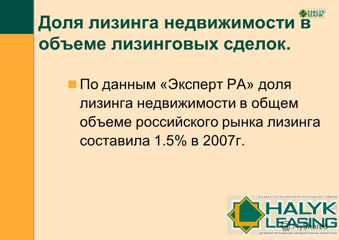 Доля лизинга недвижимости в объеме лизинговых сделок. По данным «Эксперт РА» доля лизинга недвижимости в общем объеме российского рынка лизинга составила 1.5% в 2007г.