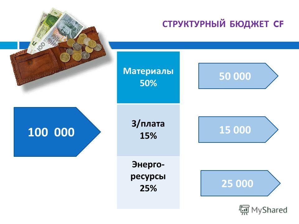 СТРУКТУРНЫЙ БЮДЖЕТ CF Материалы 50% З / плата 15% Энерго - ресурсы 25% 100 000 50 000 15 000 25 000