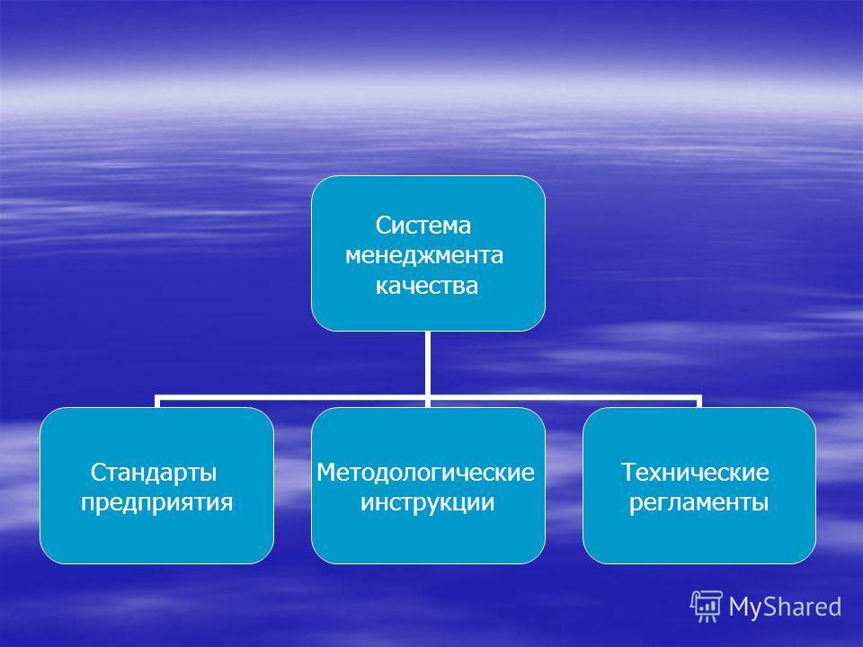 Система менеджмента качества Стандарты предприятия Методологические инструкции Технические регламенты