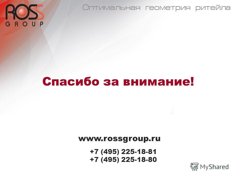 Спасибо за внимание! www.rossgroup.ru +7 (495) 225-18-81 +7 (495) 225-18-80