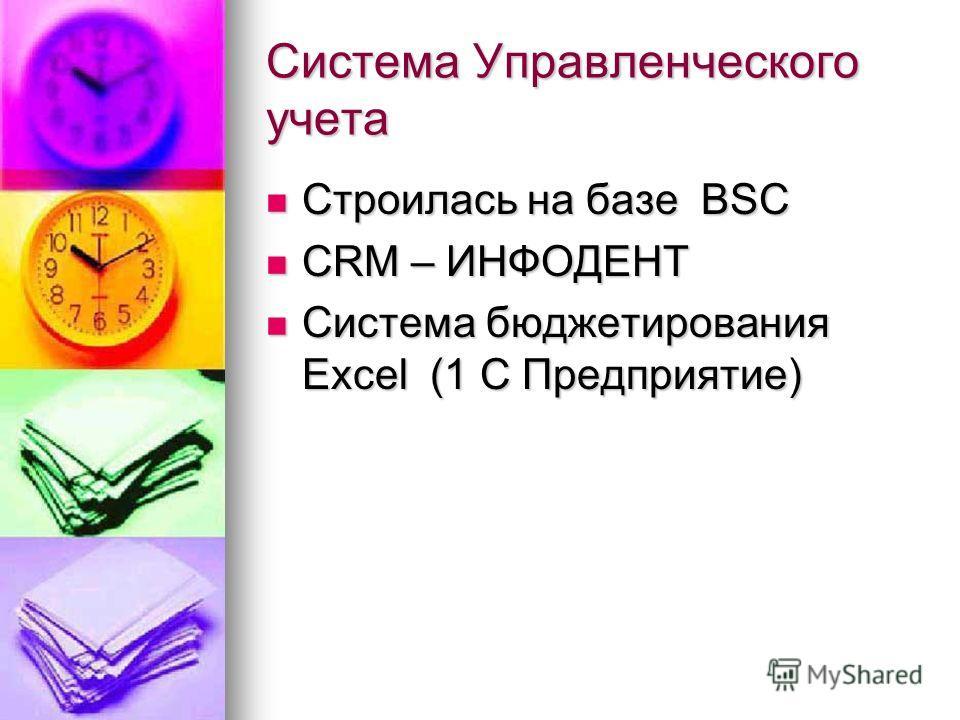 Система Управленческого учета Строилась на базе BSC Строилась на базе BSC CRM – ИНФОДЕНТ CRM – ИНФОДЕНТ Система бюджетирования Excel (1 С Предприятие) Система бюджетирования Excel (1 С Предприятие)