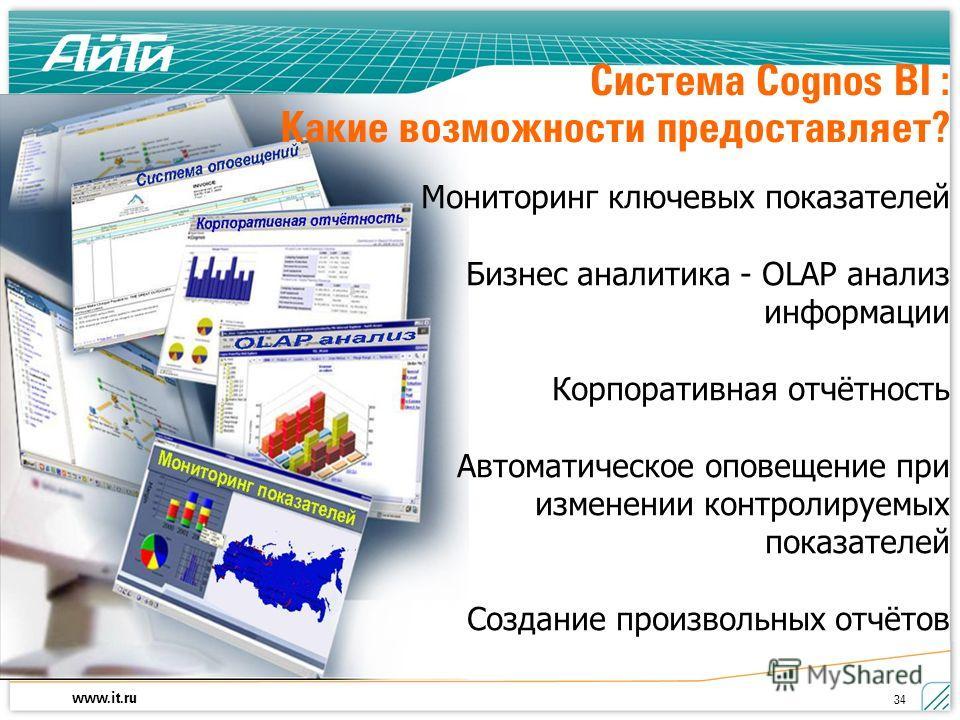 www.it.ru 34 Система Cognos BI : Какие возможности предоставляет? Мониторинг ключевых показателей Бизнес аналитика - OLAP анализ информации Корпоративная отчётность Автоматическое оповещение при изменении контролируемых показателей Создание произволь