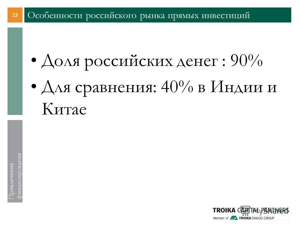 23 Привлечение финансирования Особенности российского рынка прямых инвестиций Доля российских денег : 90% Для сравнения: 40% в Индии и Китае