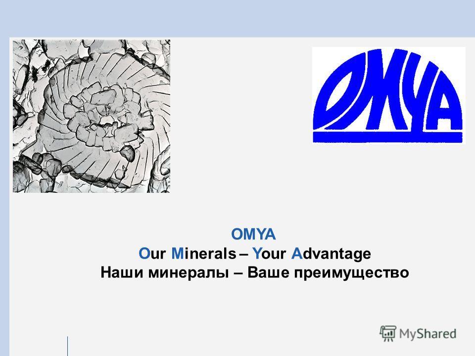 OMYA Our Minerals – Your Advantage Наши минералы – Ваше преимущество
