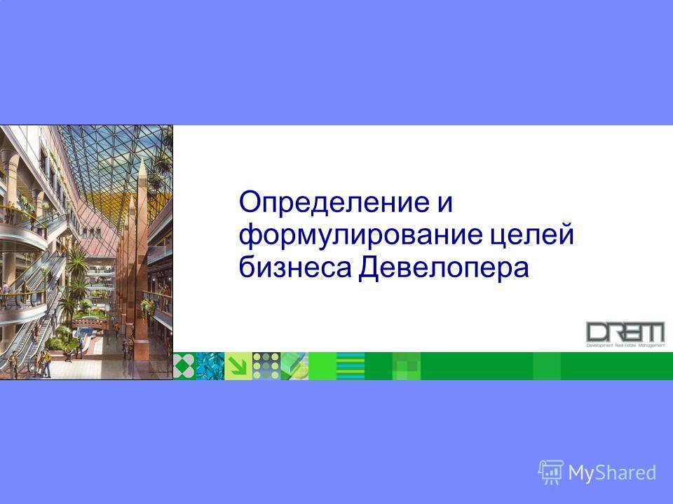 ® Определение и формулирование целей бизнеса Девелопера