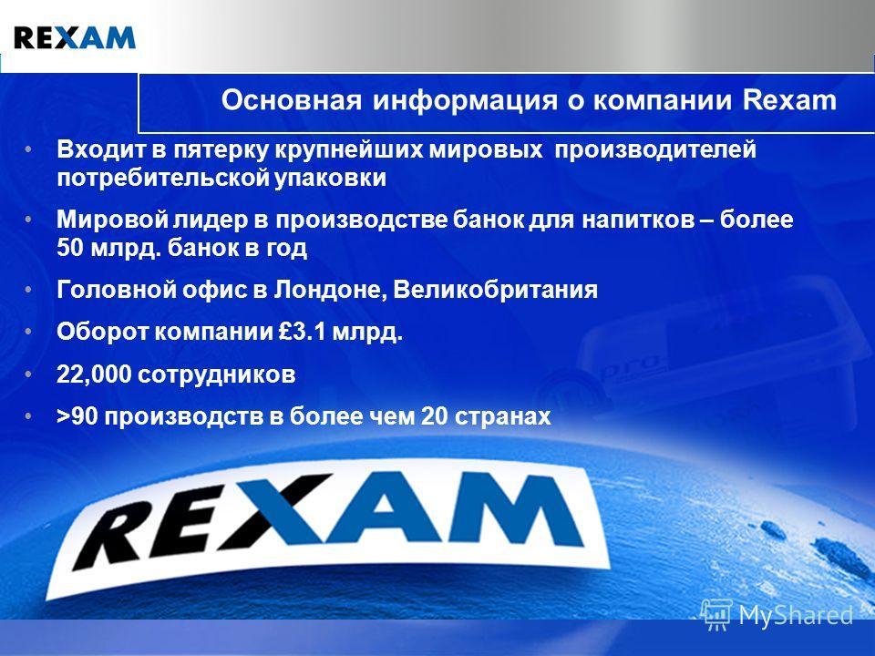 Основная информация о компании Rexam Входит в пятерку крупнейших мировых производителей потребительской упаковки Мировой лидер в производстве банок для напитков – более 50 млрд. банок в год Головной офис в Лондоне, Великобритания Оборот компании £3.1