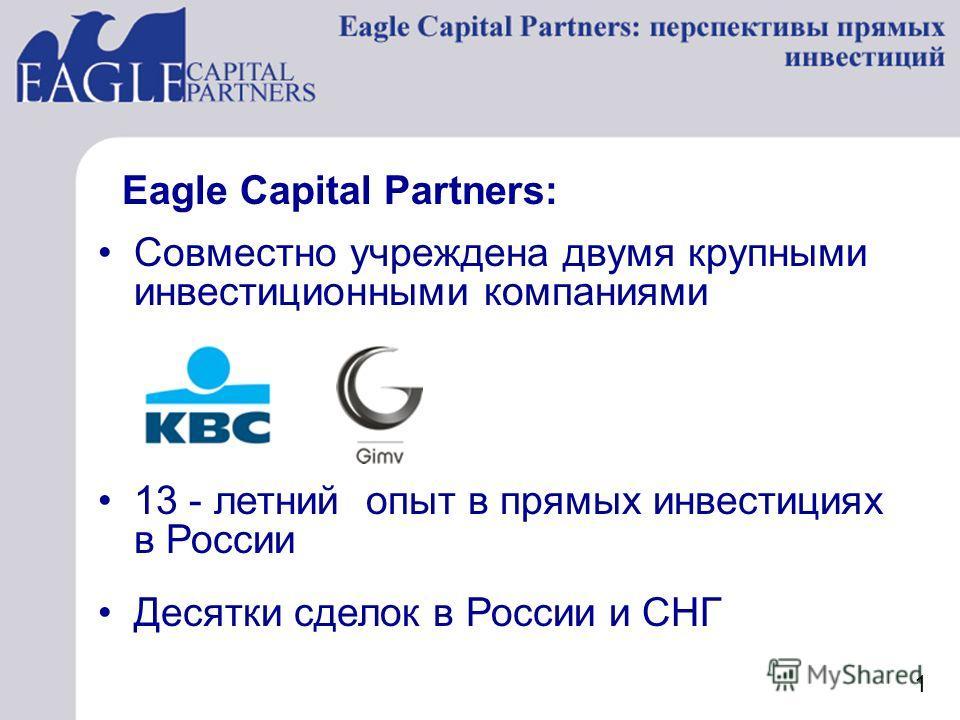 Совместно учреждена двумя крупными инвестиционными компаниями Десятки сделок в России и СНГ 13 - летний опыт в прямых инвестициях в России Eagle Capital Partners: 1