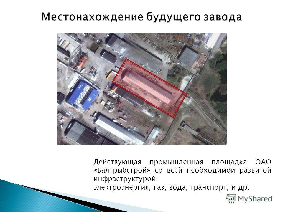 Действующая промышленная площадка ОАО «Балтрыбстрой» со всей необходимой развитой инфраструктурой: электроэнергия, газ, вода, транспорт, и др.
