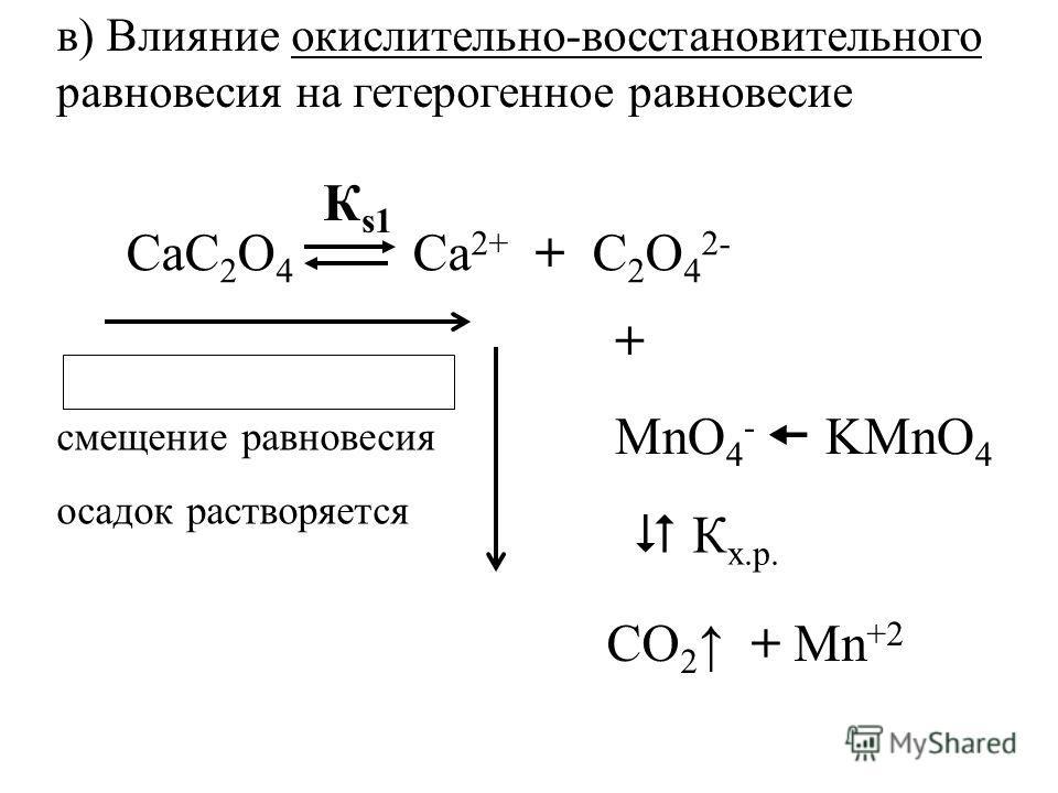 К s1 СаС 2 О 4 Са 2+ + С 2 О 4 2- + MnO 4 - KMnO 4 К х.р. СО 2 + Mn +2 смещение равновесия осадок растворяется в) Влияние окислительно-восстановительного равновесия на гетерогенное равновесие