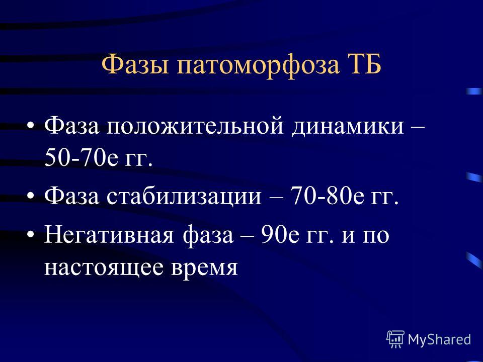 Фазы патоморфоза ТБ Фаза положительной динамики – 50-70е гг. Фаза стабилизации – 70-80е гг. Негативная фаза – 90е гг. и по настоящее время