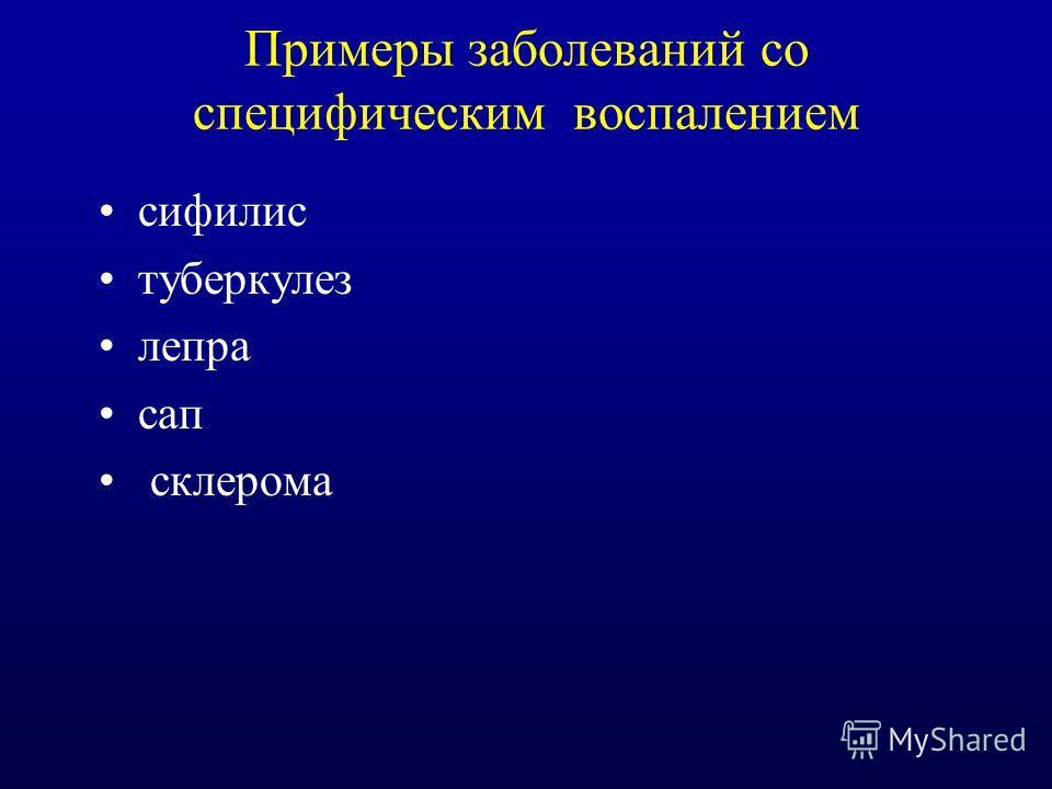 Примеры заболеваний со специфическим воспалением сифилис туберкулез лепра сап склерома