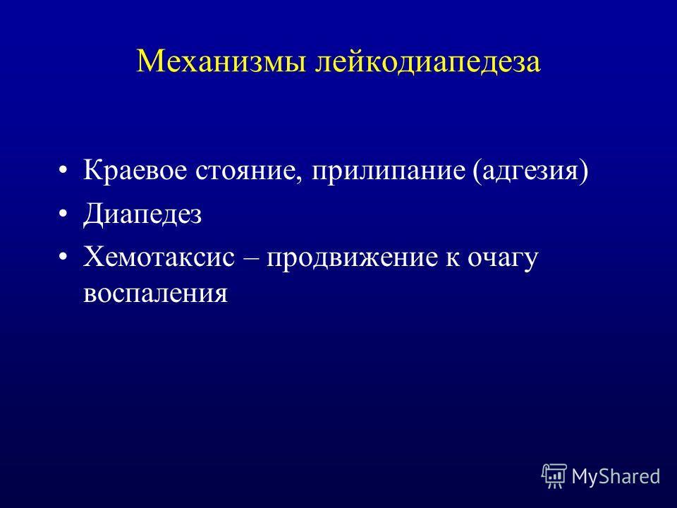 Механизмы лейкодиапедеза Краевое стояние, прилипание (адгезия) Диапедез Хемотаксис – продвижение к очагу воспаления