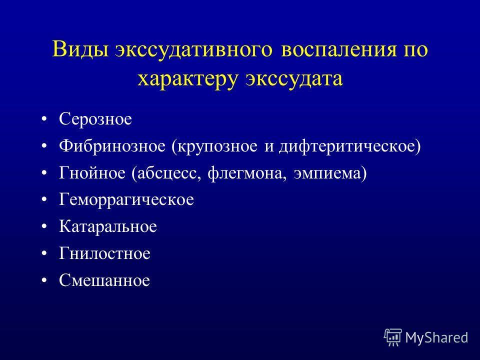 Виды экссудативного воспаления по характеру экссудата Серозное Фибринозное (крупозное и дифтеритическое) Гнойное (абсцесс, флегмона, эмпиема) Геморрагическое Катаральное Гнилостное Смешанное