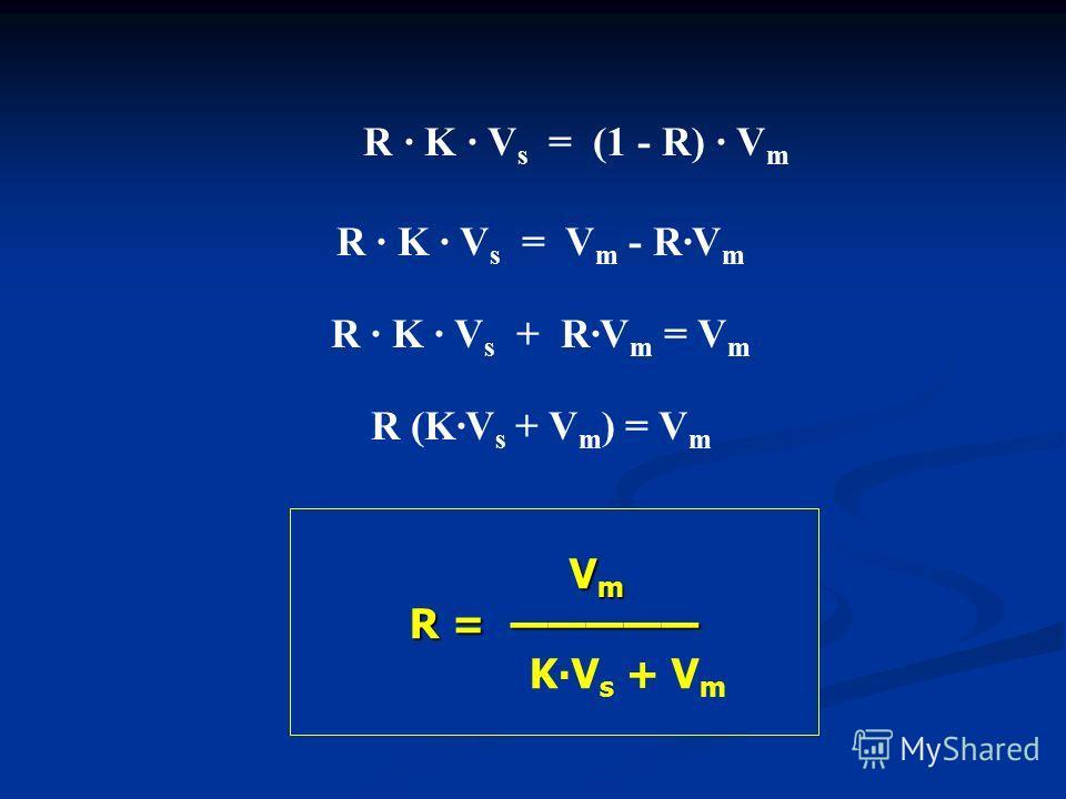 V m R = R = KV s + V m R K V s = (1 - R) V m R K V s = V m - RV m R K V s + RV m = V m R (KV s + V m ) = V m