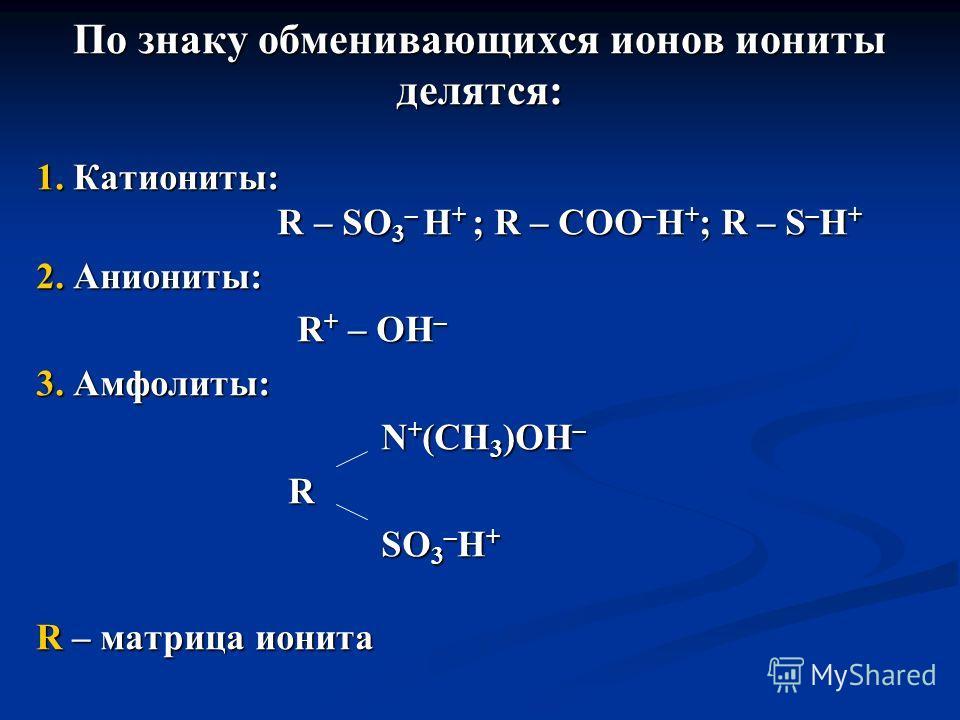 По знаку обменивающихся ионов иониты делятся: 1. Катиониты: R – SO 3 – H + ; R – COO – H + ; R – S – H + 2. Аниониты: R + – OH – R + – OH – 3. Амфолиты: N + (CH 3 )OH – N + (CH 3 )OH – R SO 3 – H + SO 3 – H + R – матрица ионита
