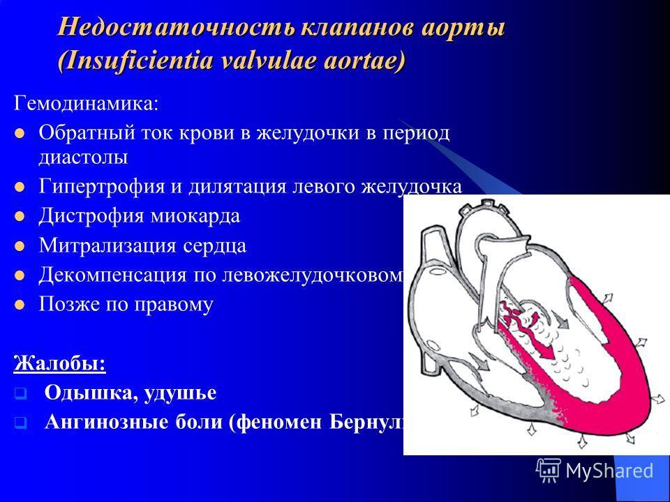 Недостаточность клапанов аорты (Insuficientia valvulae aortae) Гемодинамика: Обратный ток крови в желудочки в период диастолы Гипертрофия и дилятация левого желудочка Дистрофия миокарда Митрализация сердца Декомпенсация по левожелудочковому типу Позж